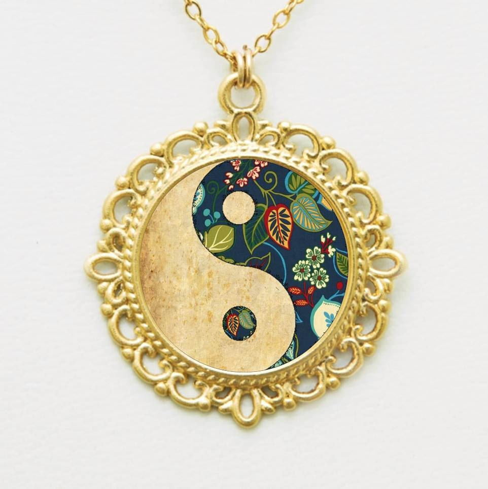 gold yin yang jewelry blue yinyang symbol necklace in 24k