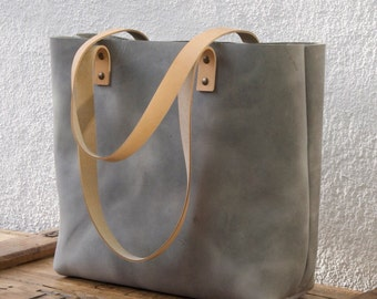 "Large Gray Leather tote bag. Sturdy Premium waxed leather. ""Cabas"". Handmade"