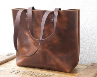 "Dark Brown Leather bag. ""Sa Tuna"" leather Tote. Premium sturdy cowhide. Handmade"