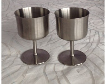 Pair of Mid Century Satin Finish Stainless Steel Wine Goblets, Made by Winton, England