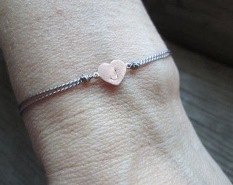 hand stamped HEART bracelet with silk cord and an adjustable knot friendship sterling silver gold filled letter number initial