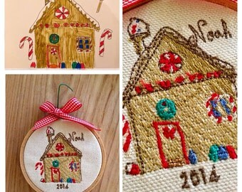 Christmas ornament with child's drawing - embroidered