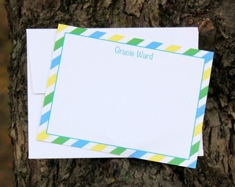 Blue, Green, & Yellow Stripe Note Cards