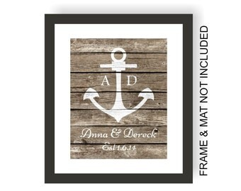 Anchor Wedding Art Print - Faux Wood, Rustic Nautical Wedding, Beach Art, First Anniversary Paper, Newlywed, Personalized Wedding Present