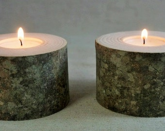 2 candle holders wood