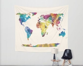 World Map Tapestry Wall hanging - geometric map, jewel tones, triangles, beautiful map, travel decor, wall atlas, dorm, apartment