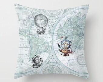 Hot Air Balloon Pillow - Throw Pillow maps , steampunk decor, Vintage Maps, unique, blue