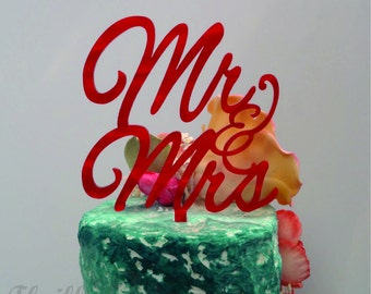 8 inch Mr and Mrs Cake Topper - Wedding, Anniversary, Celebrate, Party