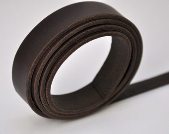 Premium real leather strap - 160 cm Long DARK BROWN Veg-Tan (2.7-3.0 mm)