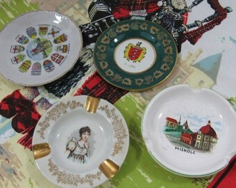 Vintage Souvenir Porcelain Ashtrays Miniature Plates Limoges France Canada Ireland Hungary Travel