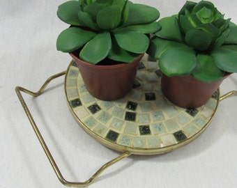 Vintage Mosaic Trivet Plant Holder Mid Century Patio Home Retro Kitchen Candle Plate Holder