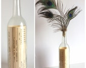 Wine Bottle Vase, Clear Glass, October Birthday Gift - Vintage 80s Time in a Bottle, Message in a Bottle, Facts Oct 22 1920s, Paper Ephemera