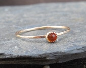 AMBER ring, 14k gold filled skinny ring, with 3mm amber cabochon, serrated bezel, hammered sterling silver, stacking ring, engagement ring