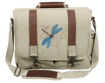Miniature Menagerie Dragonfly Diagram Embroidered Canvas with Leather Accents Premium Laptop Bag