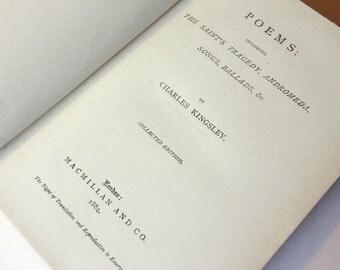 Poetical Works of Charles Kingsley 1884 Poetry Vintage Book Hardback antique
