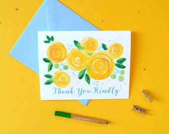 Illustrated Thank You Card, Floral Thank You, Thank You Card Set, Floral Thank You Notecards