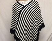Free Ship Large Knit Poncho Black White Fringed White Diagonal Stripe Fringed