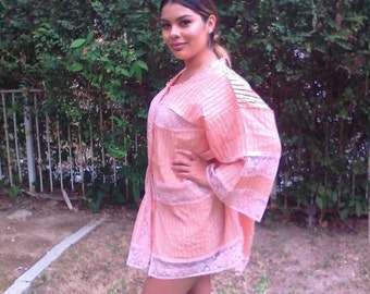 Swimsuit cover,cotton, peach with pink lace, large,XL,PJ,Pajama,top