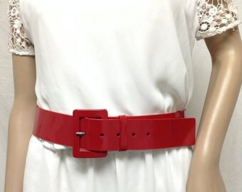 Red Patent Leather belt, Red, Nine West, Belt,large,36,41
