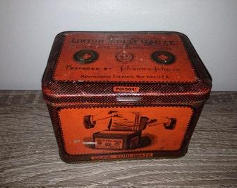 Antique 1800's Johnson & Johnson Moist Gauze Tin-Very Rare-Medical Memorabilia-First Aid