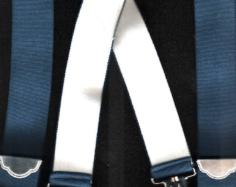Suspenders Vintage Curated Like New One Size Fits All Navy And White   GORGEOUS & GIFT QUALITY Please Check  Our Excellent Customer Feedback