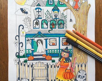 House coloring page  Etsy