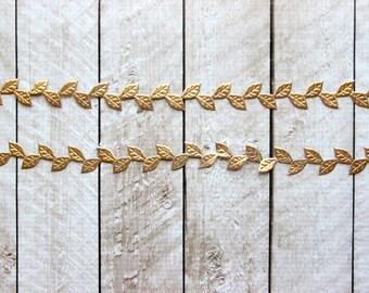 Gold Leaf Ribbon - 5 Yards - Trim - Halo Headband - Leaf Crown - Headband Supplies - Craft Supplies - Gift Wrap - Wedding Trim
