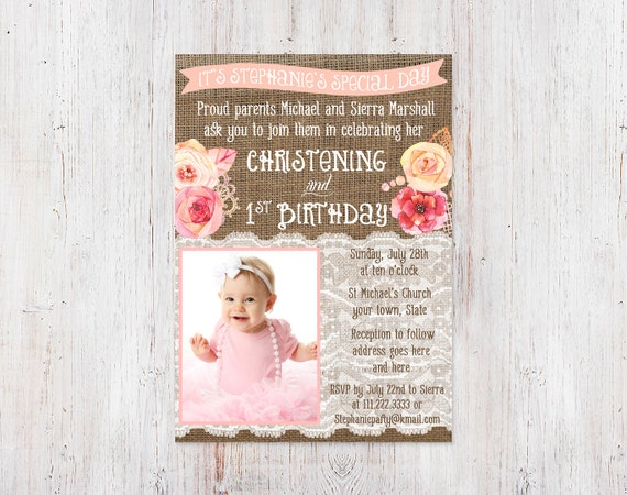 Christening and 1st birthday invitations Bautizo 1er cumple – 1st Birthday and Baptism Invitations