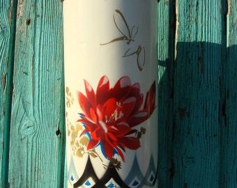 Vintage White Chinese Rose Thermos / vintage kitchen decor vase China rose gold decor