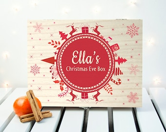 Personalised Christmas Eve Box With Snowflake Wreath - Mini - Night Before Christmas Box - Children's - Xmas - Snow - FREE UK DELIVERY!