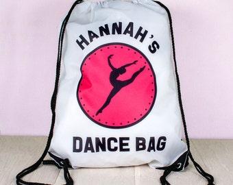 Personalized Kids Dance Bag - Drawstring Bag - Child's Dance Bag - Sport Bag - Activity Bag - Custom & Made to Order - FREE UK DELIVERY!