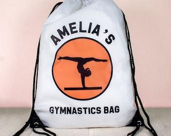 Personalized Kids Gymnastics Bag - Drawstring Bag - Child's Gym Bag - Sport Bag - Activity Bag - Custom & Made to Order - FREE UK DELIVERY!