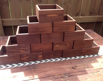 Set of Fifteen Rustic Wood Flower Boxes, Succulent Planter, Wedding Centerpiece Flower Boxes, Table Centerpiece
