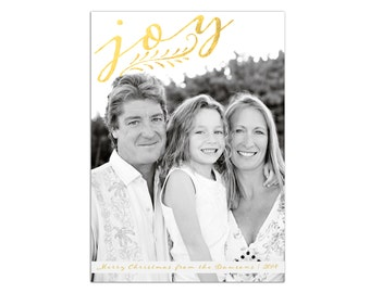 Joy Photo Holiday Card // Printable Christmas Card with Photo // Gold Joy Christmas Card