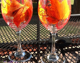 Fall whimsical leaves, each glass is 13.95