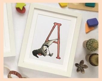 "A is for Anteater. Alphabet Nursery Art 8""x10"" mounted print. Name illustration for children"