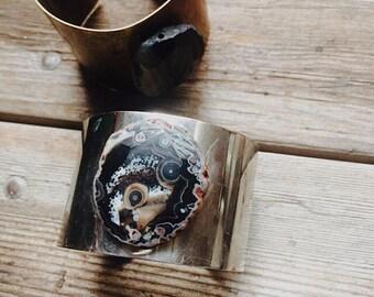 Silver + Black Agate Stone Cuff