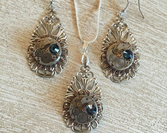 Women's Birthstone Jewelry, Steampunk, Steampunk Necklace, Steampunk Style, Necklace, Neo Victorian, Vintage Timepiece, Womens Necklace,