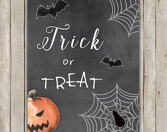 8x10 Halloween Print, Trick or Treat, Chalkboard Print, Spooky Wall Art, Digital Art, Poster, Halloween Decor, Fall Decor, Instant Download