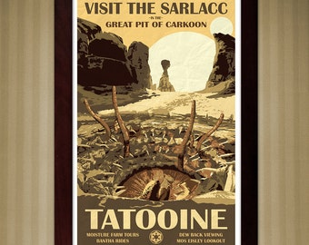 Star Wars Tatooine - Travel Poster - Visit the Sarlacc - 11x17