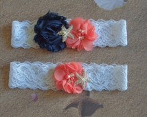 Beach Wedding Garter with Navy and Coral Flowers, Starfish Beach Bridal Garter and Toss, Destination Wedding Lace Garter, Color  Choices