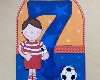 7 Birthday Card * Seven Birthday Card * Football Birthday Card * Boys Birthday Card * 7th Birthday Card * Birthday Card * 7 Card * Handmade