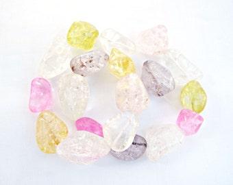 Ice Flake Quartz, Quartz Nuggets, Mixed Size Quartz, Mixed Colors, Ice Flake Nuggets, 15 Inch Strand, Quartz Stone, Stone Nuggets, UK Seller