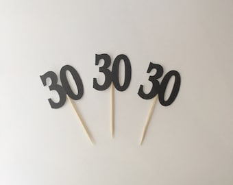 30 Cupcake Toppers / BLACK Glitter 30th Birthday Thirty cup cake toppers x 12