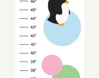ON SALE ON Sale Personalized Polka Dot Penguins Canvas Growth Chart