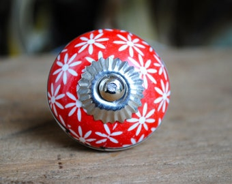 Red Ceramic Furniture Knob with White Flowers Kitchen Cabinet Knob Bathroom Cabinet knobs Painted Furniture Dresser Knob