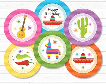 Mexican Fiesta Cupcake Toppers , Mexican Stickers, Mexican birthday, Cinco de Mayo,Printable, INSTANT DOWNLOAD