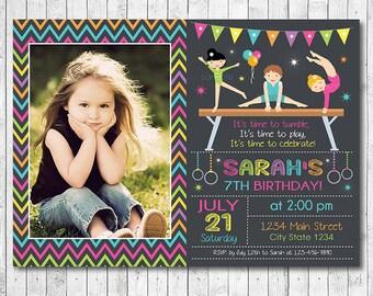 Little Tumblers Birthday Invitation, Tumblers Invite, Gym Invitation, Athletic Invite, Gym Party, Photo Invitation, Printable