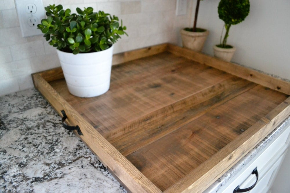 Reclaimed Wood Ottoman ~ Xlg ottoman tray reclaimed wood coffee table