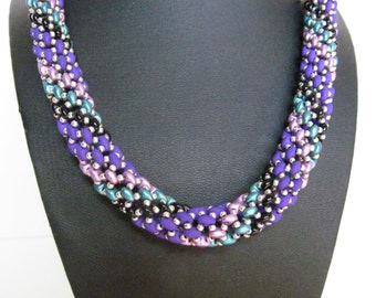 Beaded rope necklace, blue rope necklace, multi color rope necklace,purple necklace, super duo necklace